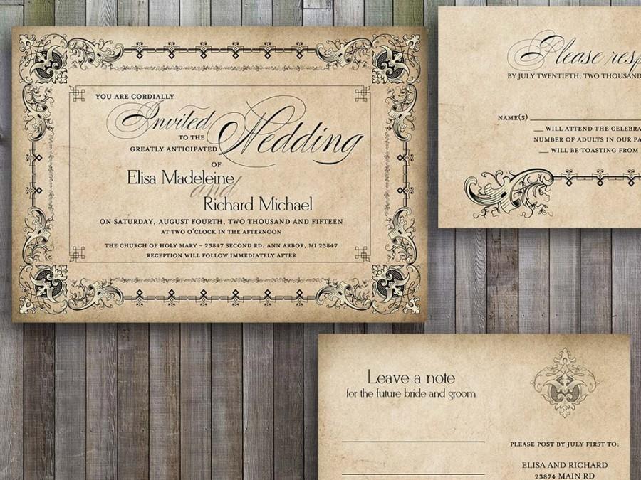 Wedding Invitations Printable Vintage Old Fashioned
