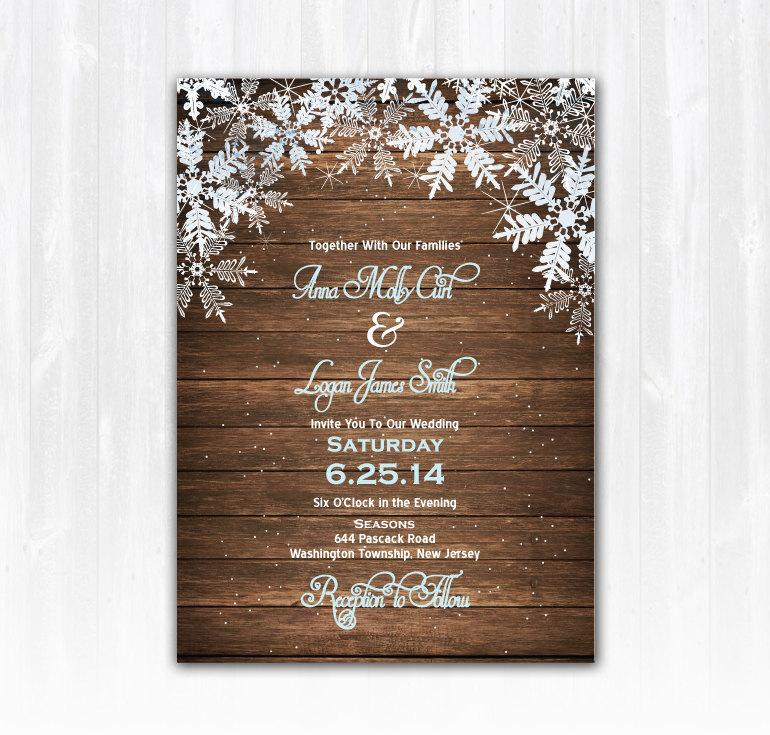 wood snowflake wedding invitation diy digital file or print extra