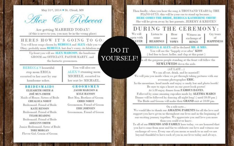 DIY Best Seller Funny Wedding Program Instant Download