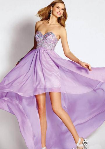 Mariage - Sleeveless Zipper Lilac Sweetheart Crystals Chiffon High Low