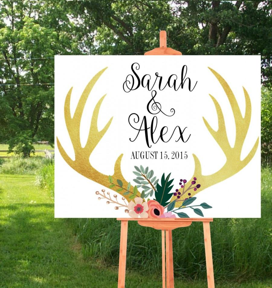زفاف - Printable Wedding Sign, Wedding Printables, Wedding Signs Printable, Deer Wedding Sign, Rustic wedding,  Custom wedding sign