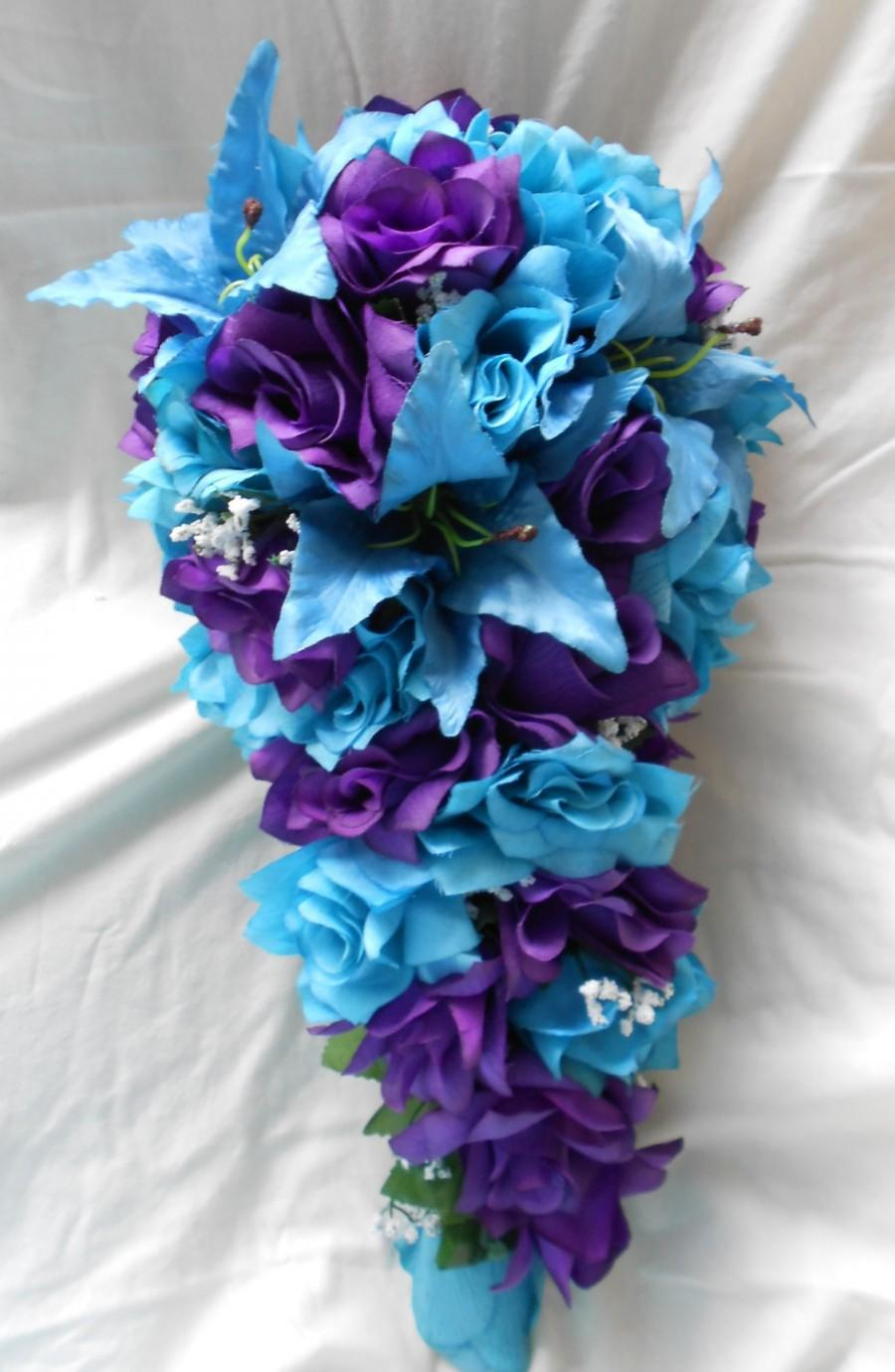 Purple And Turquoise Blue Cascade Wedding Bouquet Lilies And Roses2 Pc 2517087