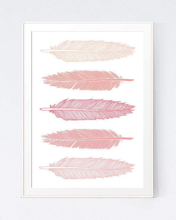 5 feathers coral wall art pink peach feathers print for Pink wall art