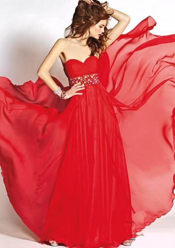 Mariage - Sweetheart Red Zipper Crystals Chiffon Floor Length Sleeveless