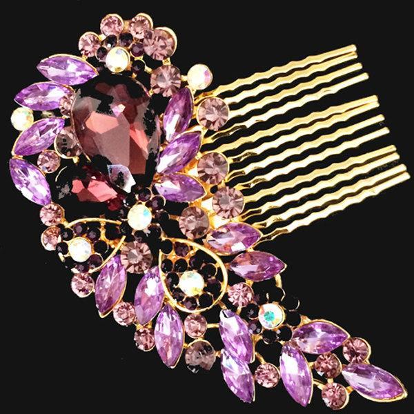 زفاف - Gold Purple Vintage Style Hair Comb Encrusted Clear Crystals Diamante Hair Clip Slide Fascinator Pin Brooch Bridal Bouquet Wedding Accessory