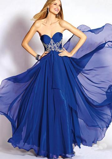 Mariage - Zipper Crystals Chiffon Sleeveless Sweetheart Blue Floor Length