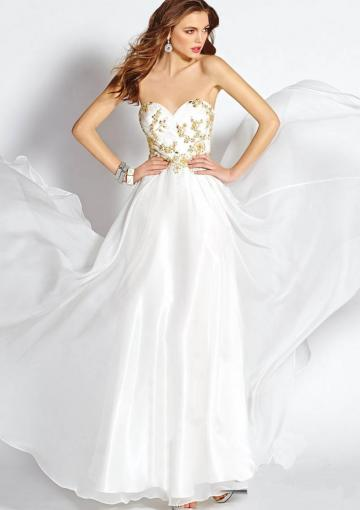 Wedding - Zipper White Sweetheart Crystals Chiffon Ruched Floor Length