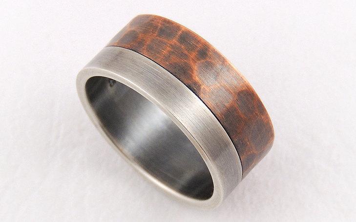 Свадьба - Elegant rustic wedding band ring - mens wedding ring,engagement ring,silver and copper,unique mens ring,man ring