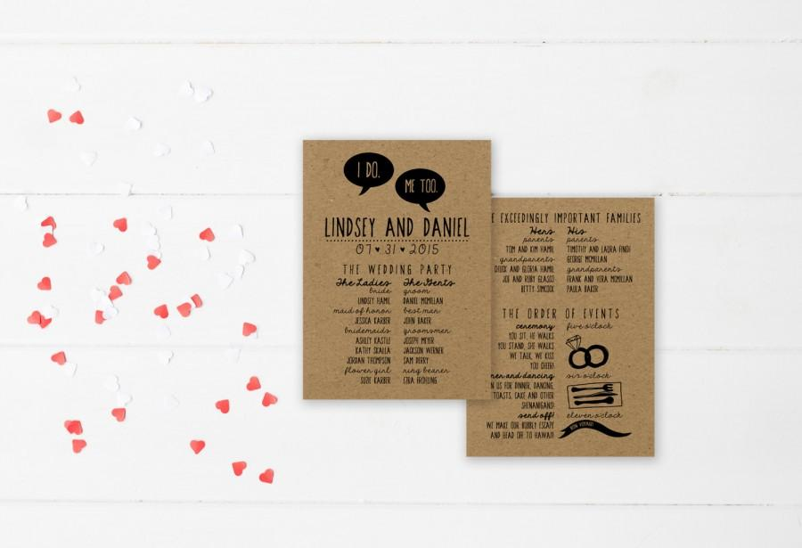 DIY Wedding Program DEPOSIT