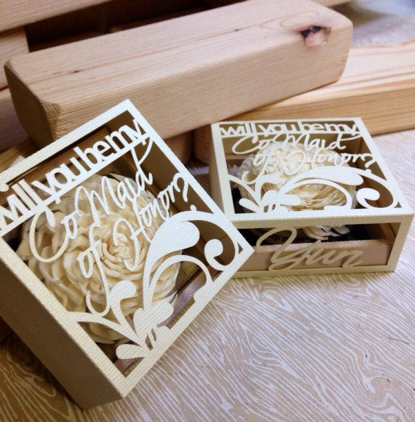 Mariage - Will you be my Co-maid of honor personalized cut-out box (shipped individually)