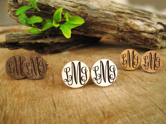 Curly Monogram Wooden Cufflinks Engraved Customized Box Dad Grooms Groomsman Gift Set Personalized Rustic Wedding Birthday Cuff Links