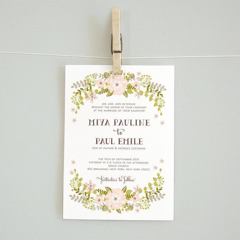Mariage - floral wreath printable DIY wedding invitation suite reception card details card rsvp card  - GRAND FLORAL