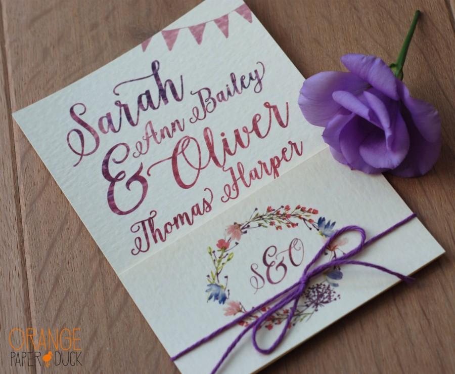 زفاف - 10 x Personalised Wedding Stationary Watercolour Floral Invitation RSVP Custom Design Purple Kraft Cream