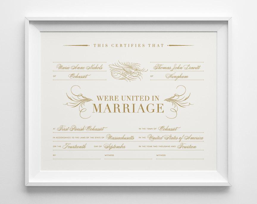 Custom Marriage Certificate Personalized Wedding Keepsake