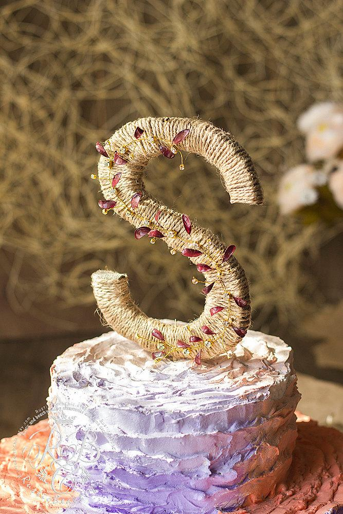 Letter S Rustic Wedding Cake Topper Initial Monogram Personalized