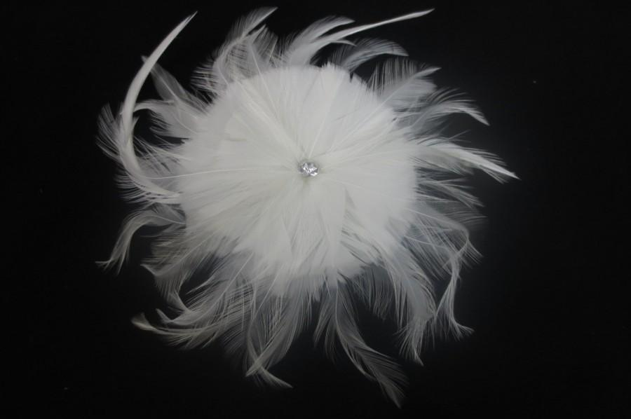 زفاف - Womens Wedding Party Ivory Feather Rhinestone Jewel Hair Clip W/ Birdcage Veil Fascinator, Bridal Head Piece