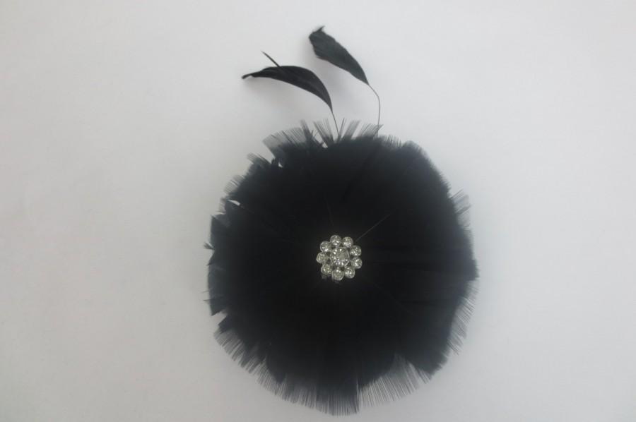 Mariage - Womens Wedding Party Black Feather Rhinestone Jewel Hair Clip W/ Birdcage Veil Fascinator, Bridal Head Piece