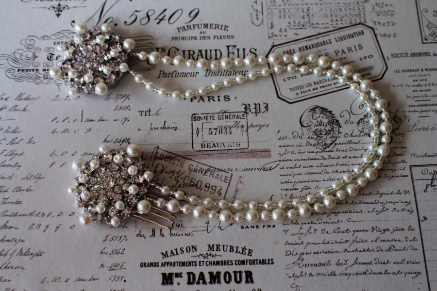 زفاف - Bridal forehead band- Hair Wrap -Hair chain-Bridal hair accessories- Brow Band - Pearl forehead band - Hair Drape - Bridal hair combs