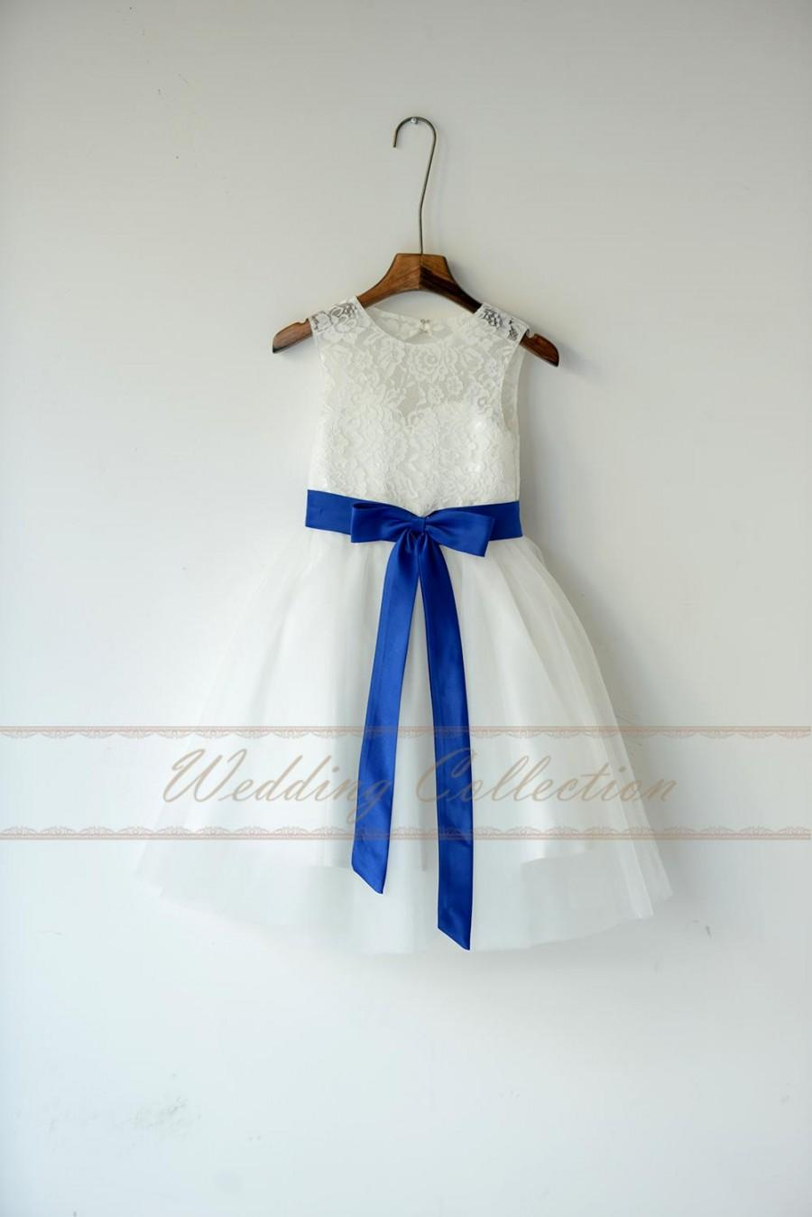 Lace Tulle Flower Girl Dress With Royal Blue Sash And Bow #2517250 ...