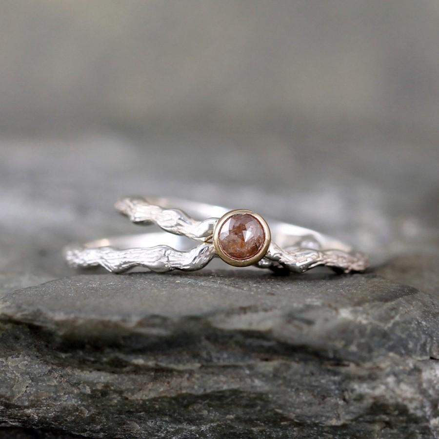 cognac cut twig engagement ring sterling