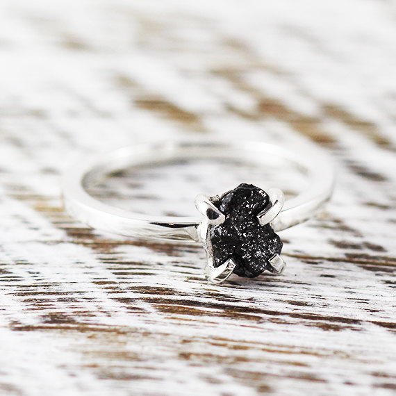 Mariage - Uncut Diamond Ring Black Rough Sterling Silver Delicate Rings