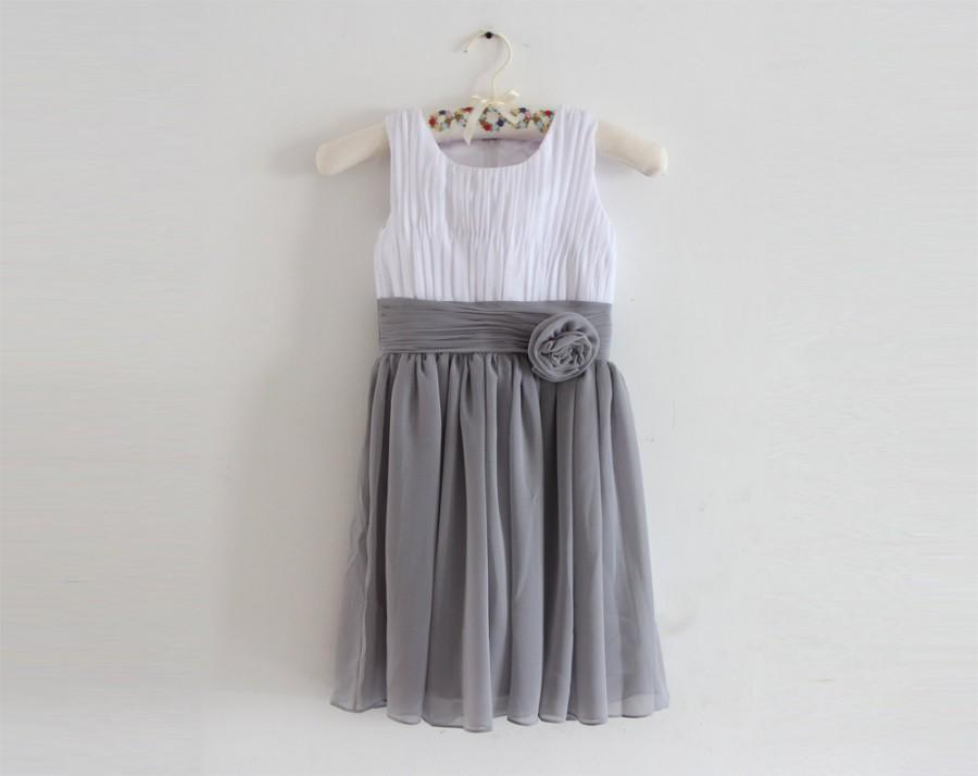 Mariage - White Grey Flower Girl Dress with Straps White Gray Chiffon Baby Girl Dress With Flower