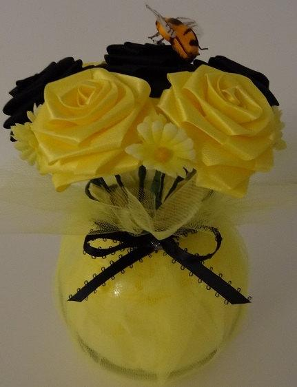 Bumblebee Cutie Pot Ribbon Flower Centerpiece For Wedding Bridal Shower Baby Sweet 16 Housewarming Home Decor