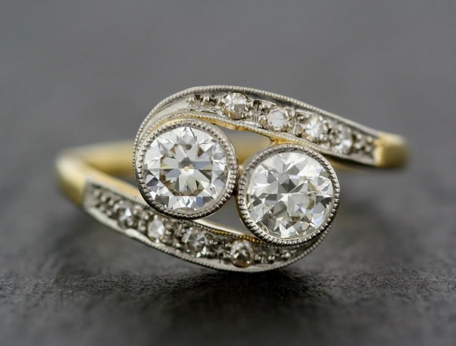 Mariage - Antique Engagement Ring - Art Deco Diamond Twist 14ct Gold & Platinum Antique Engagement Ring