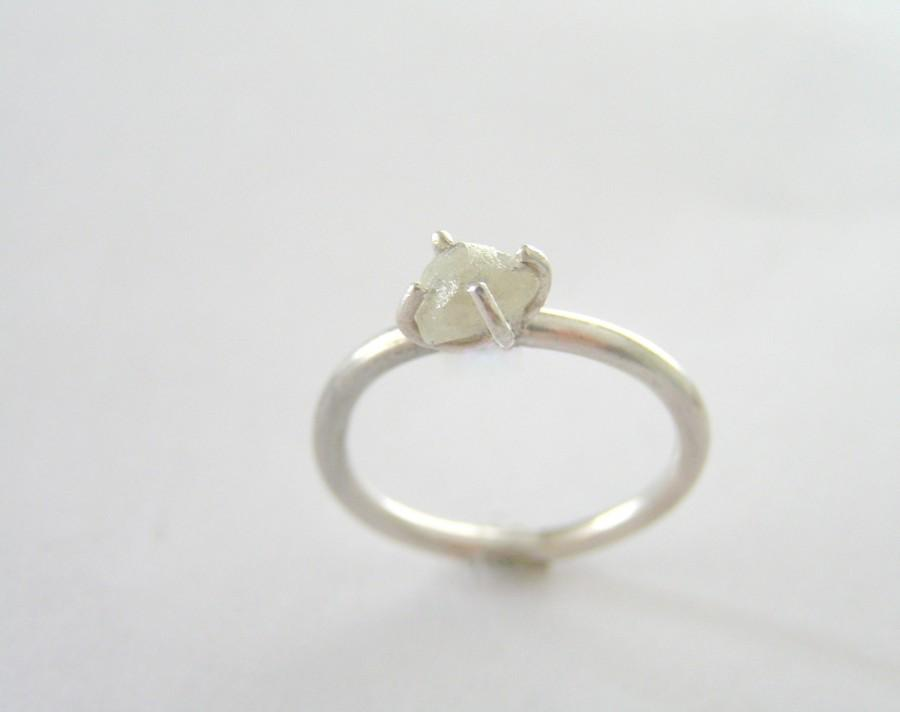 Mariage - Raw Diamond Engagement Ring, Rough Diamond Ring in Sterling Silver, White Uncut Diamond Ring,