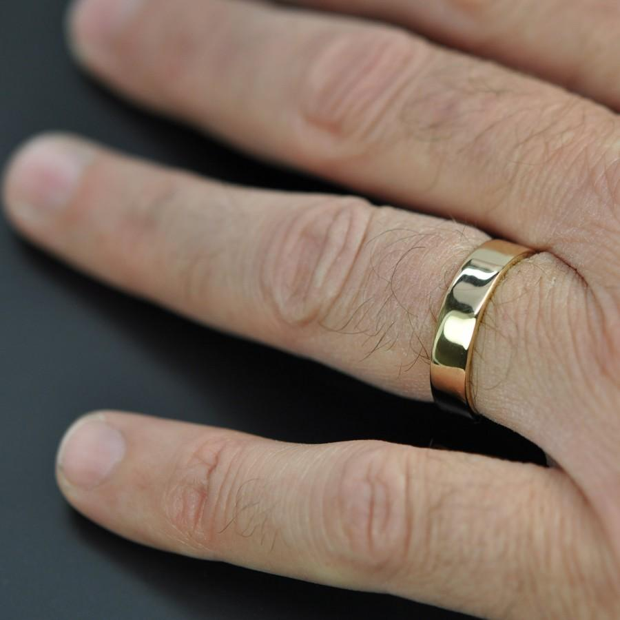 5mm Wide Mens Gold Ring 18k Yellow Wedding Band Recycled Eco Friendly Custom Made Sea Jewelry