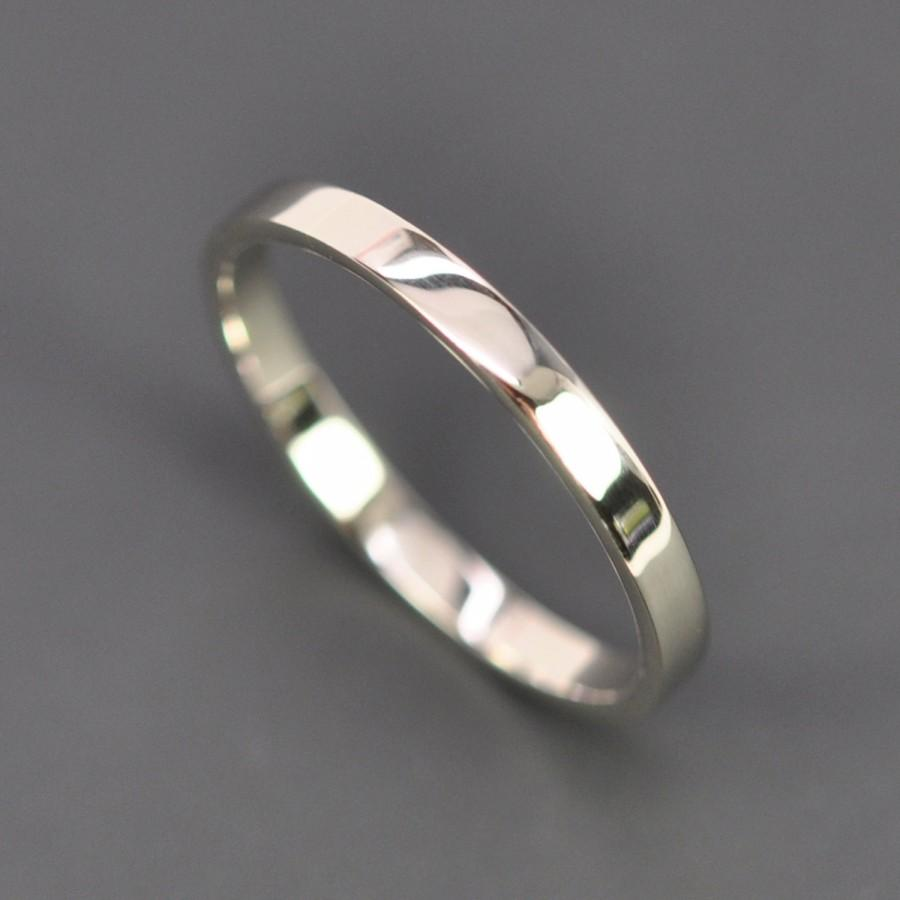 White Gold Wedding Band 2mm By 1mm Flat Edge Ring 14k Palladium Recycled Metals Eco Friendly Sea Jewelry