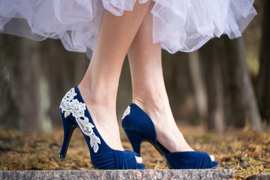 Wedding Shoes Blue Bridal Heels Something High With Ivory Lace Us Size 7 5