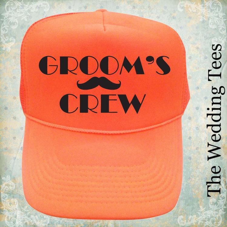 Groom s Crew Caps. Wedding Party Caps. Groom s Crew Hats. Bachelor party  caps. Groomsmen Cap. Neon Caps. Wedding Caps a2319d60f89