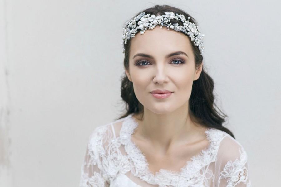 زفاف - Bridal Hair Accessories , Pearl Wedding Headband ,Bridal Headpiece ,Pearl Headdress  ,Wedding Floral Headband