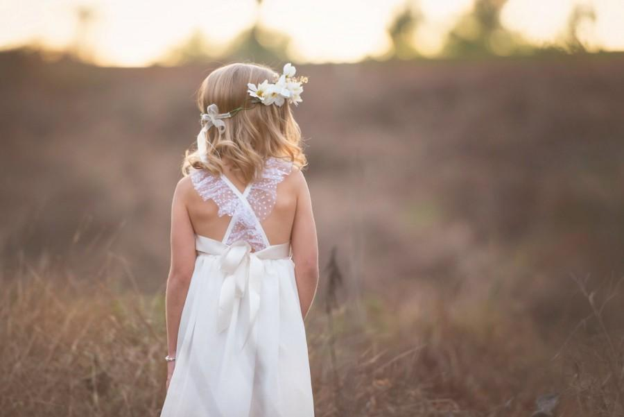 Mariage - ivory flower girl dress, big bow back dress, girls lace dress, baby girls dress, lace flower girl dress, rustic flower girl dress, country