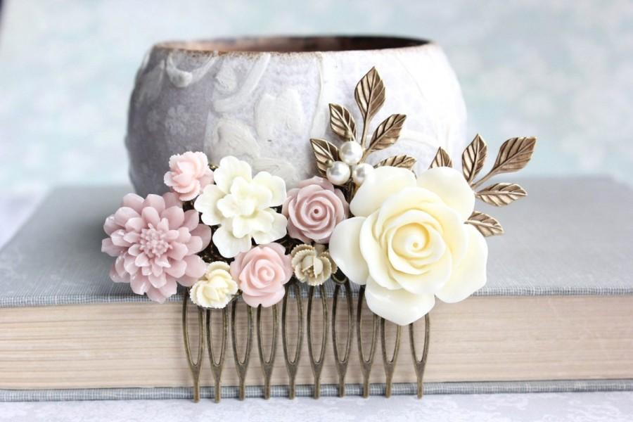 Blush Bridal Hair Comb Dusty Rose Pink Ivory Cream Flowers For Soft Ecru Fl Piece Vintage Inspired Country Chic