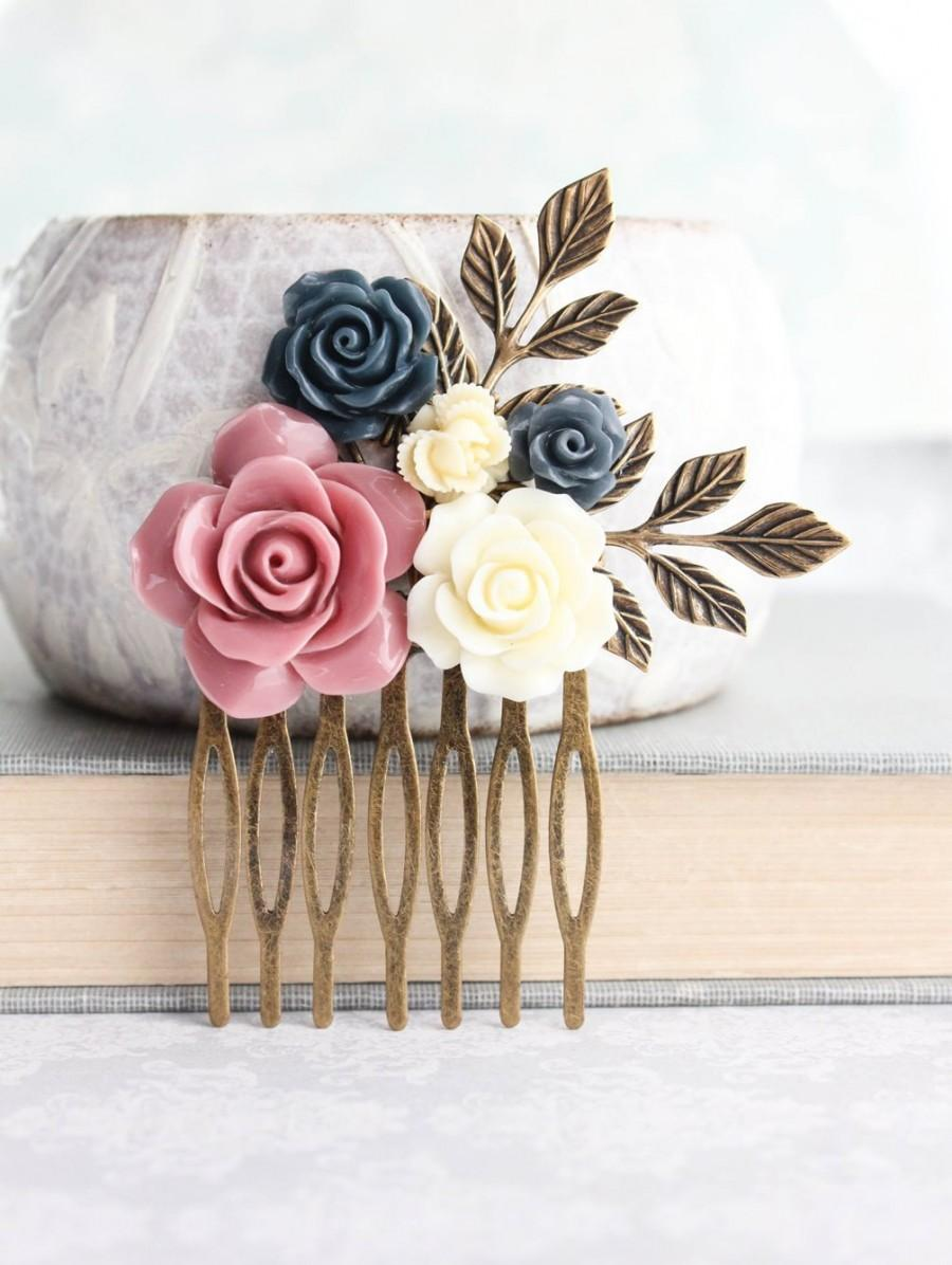 Hochzeit - Floral Bridal Hair Comb Dusty Rose Pink Wedding Navy Blue Rose Comb Hair Accessories Bridesmaid Gifts Vintage Style Gift For Her Gold Branch