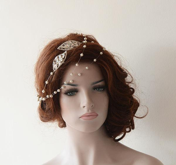 Wedding - Bridal Hair Accessories, Rhinestone and Pearl Headband, Wedding hair Accessory, Hair Wrap Headband