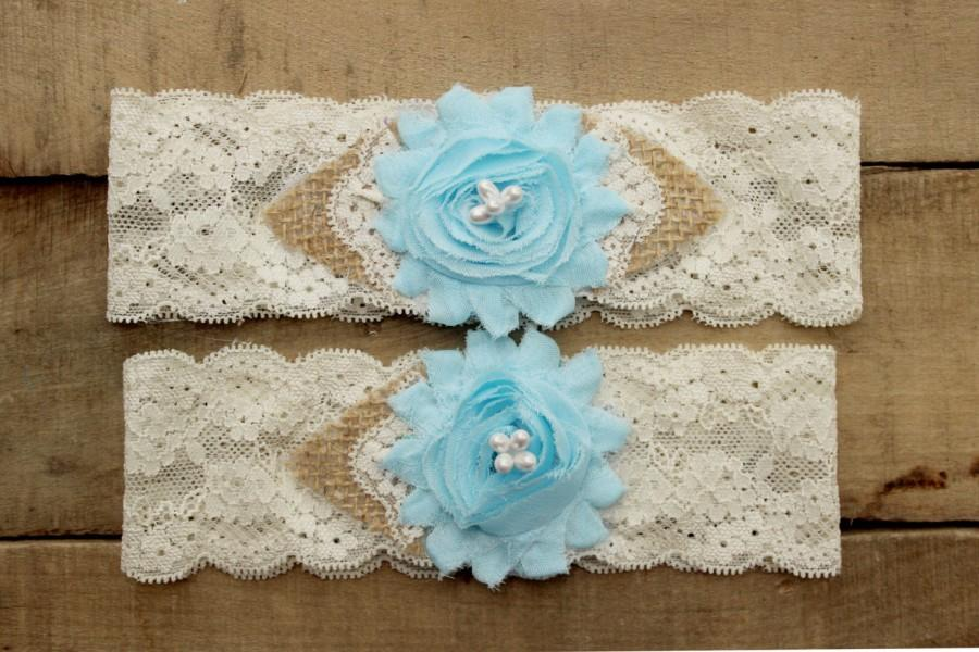 Mariage - Something Blue Wedding Garter - Burlap and Lace Garter Set w/ Pearls, Rustic Country Western Garter, Burlap wedding garder belt