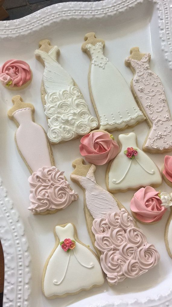 Pink And White Wedding Entourage Dress Cookies-10 Bridal Shower ...
