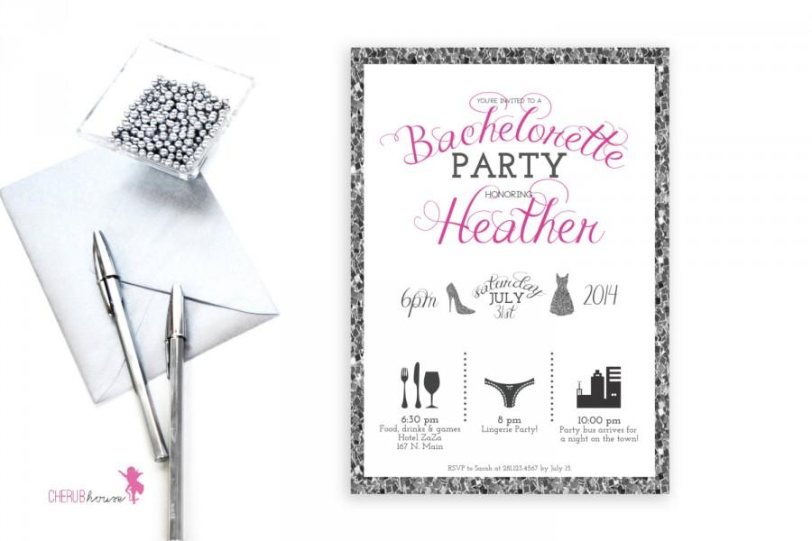 Mariage - BLING, Silver, Timeline Bachelorette invitation, Printable, Custom color, glitter, Bachelorette invite, diy, silver glitter