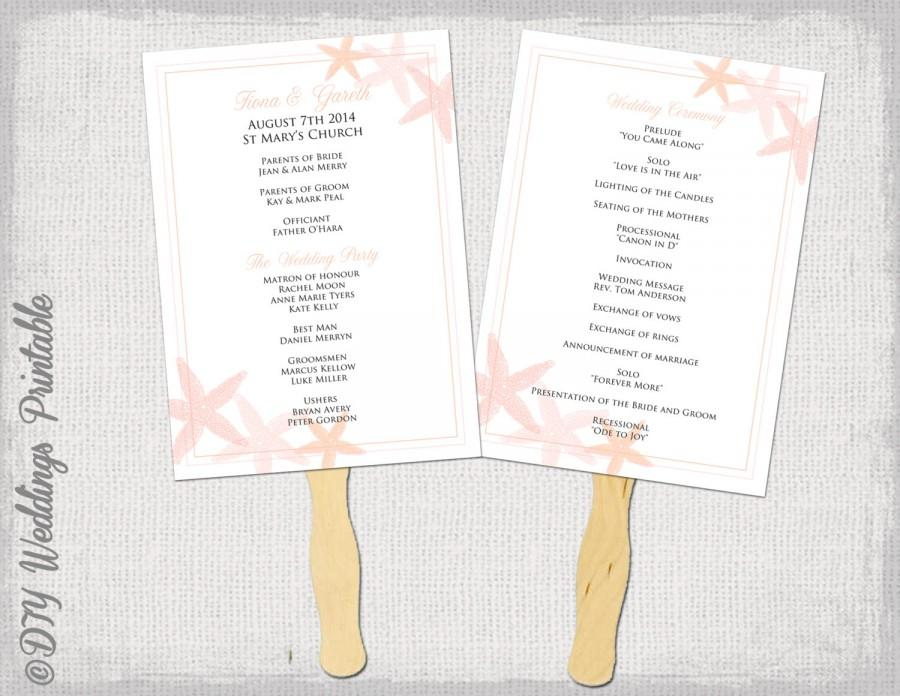 Fan program template quotstarfishquot coral diy wedding order of ceremony printable fan program word for Diy wedding program fan template