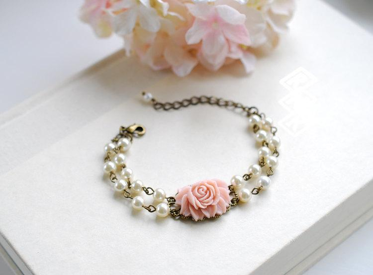 Double Strand Cream Ivory Pearls Powder Pink Rose Flower Bracelet Two Bridal Peal Adjustable Bridesmaid