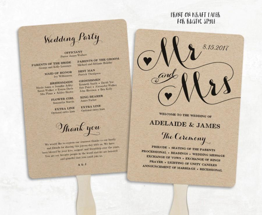 Printable Wedding Program Template Fan Wedding Program Cheap Diy