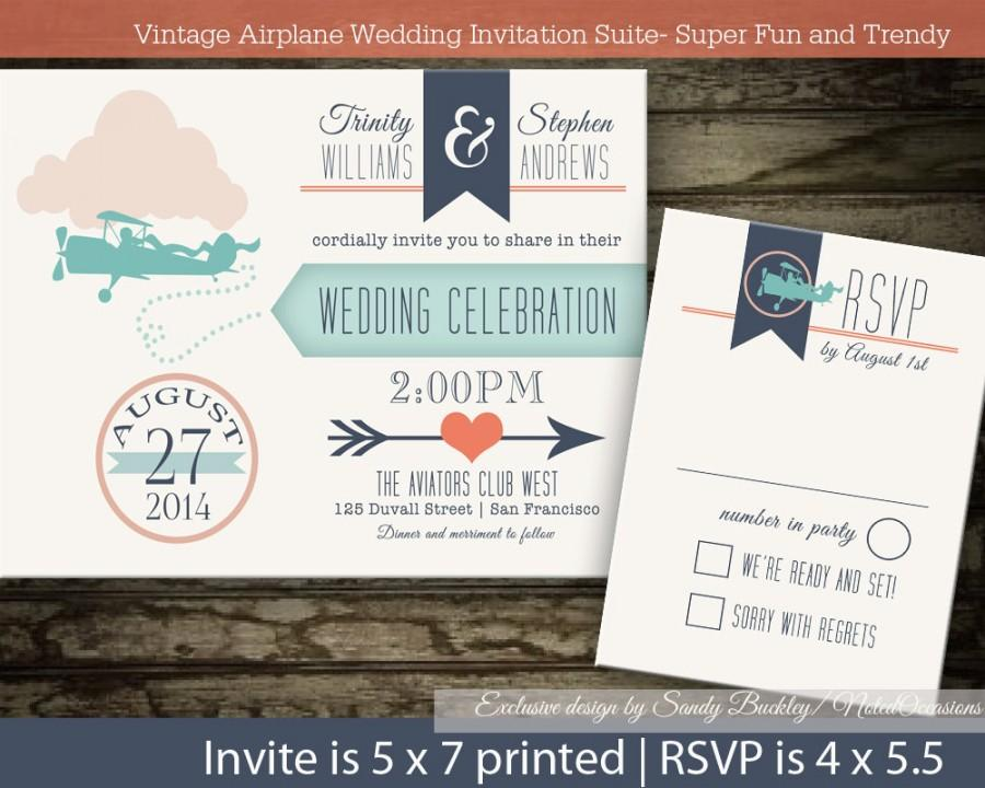 Vintage Plane Wedding Invitations Digital Printable- Love Is In The ...