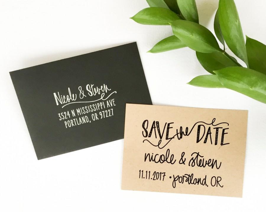 Wedding - Save The Date stamp - Scribble design - custom save the date rubber stamp - custom wedding calligraphy - personalized save the date - H1700