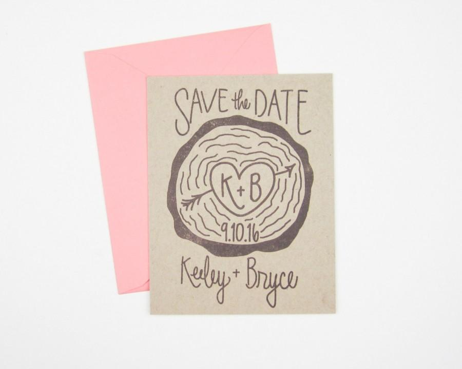 Wedding - Wood Slice Save the Date stamp - custom hand lettered save the date stamp - save the date invitations - DIY wedding stamp - H1006