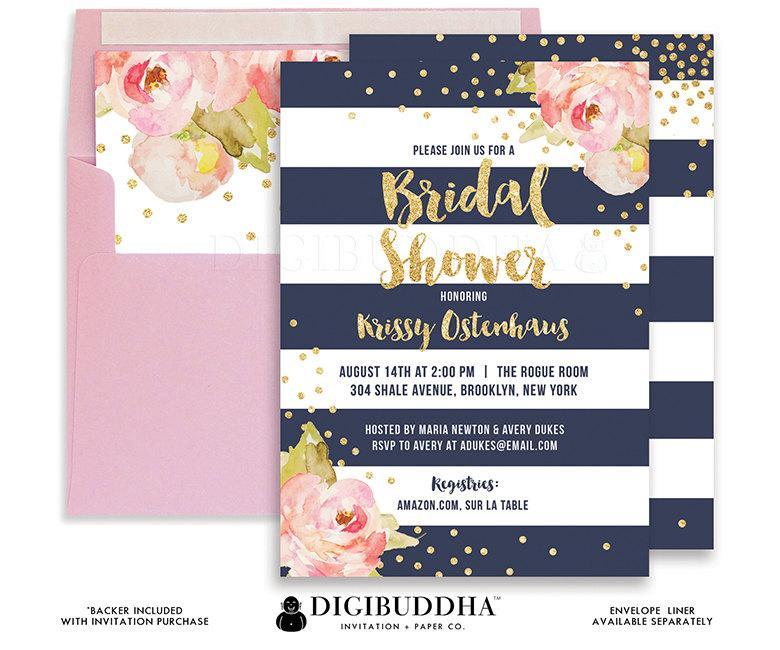 Wedding - BRIDAL SHOWER INVITATION Wedding Shower Invite Pink Peonies Navy Stripes Gold Glitter Rose Printable Bridal Shower or Printed- Krissy