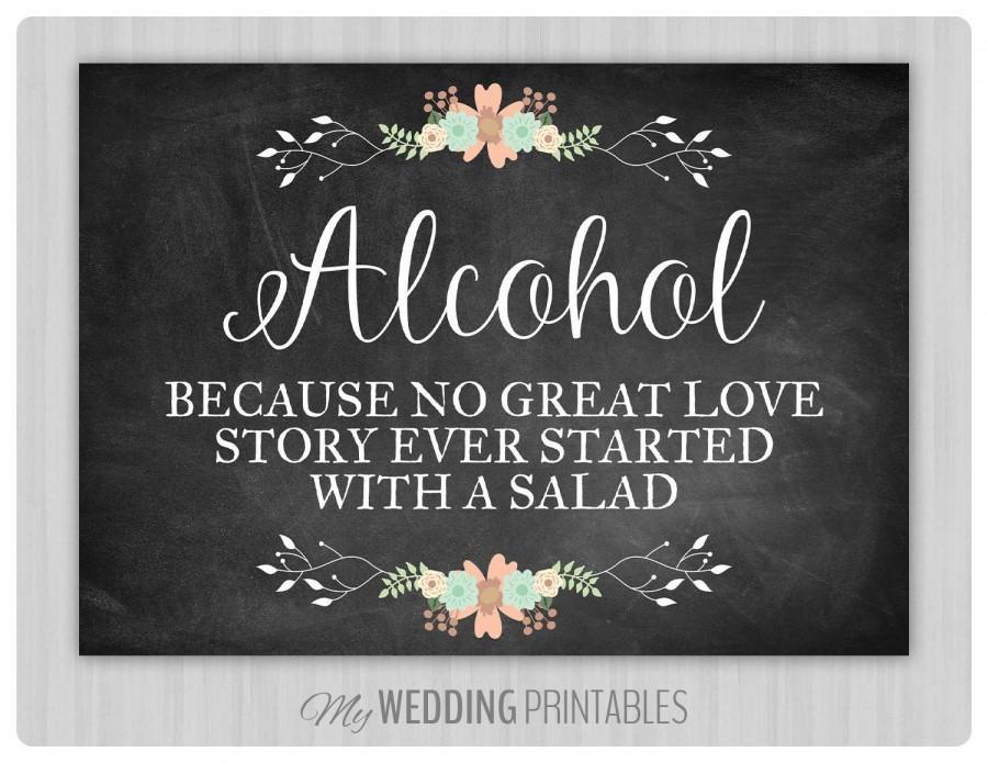 Hochzeit - Floral Chalkboard Wedding Sign, Printable Wedding Sign, Chalkboard Wedding Alcohol Sign, Wedding Decor, Instant Download