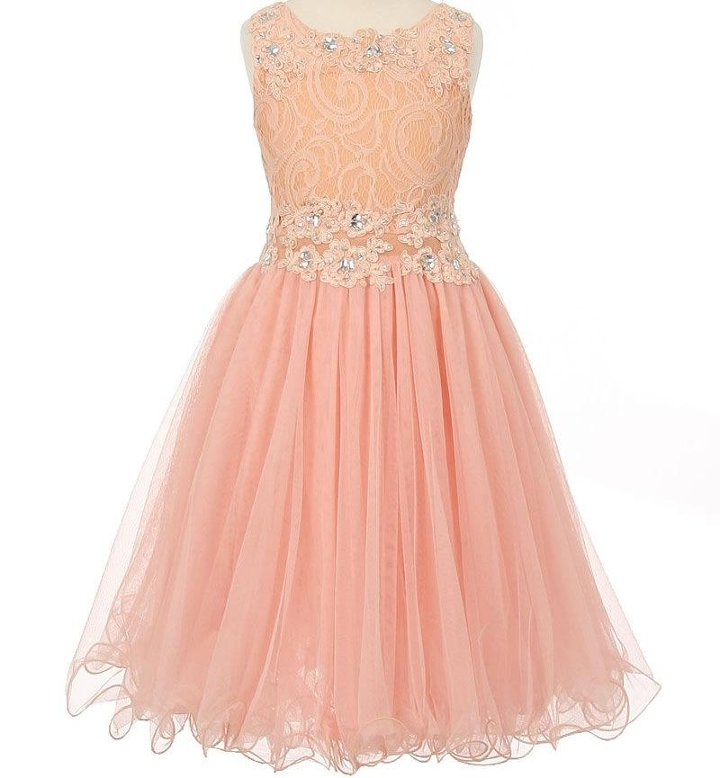 Flower Dress Blush Peach Pink Lace Embellished With Sequins And Sparkles Junior Bridesmaid